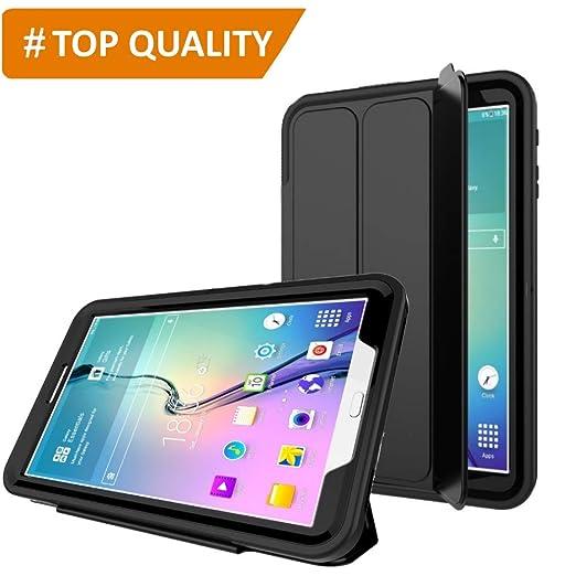 PROTECK Funda para Samsung Galaxy Tab A 10.1 - Cubierta con【Película Protectora Incorporada】+【Función Auto-Sueño/Estela】+【A Prueba de Choques】 - Negro