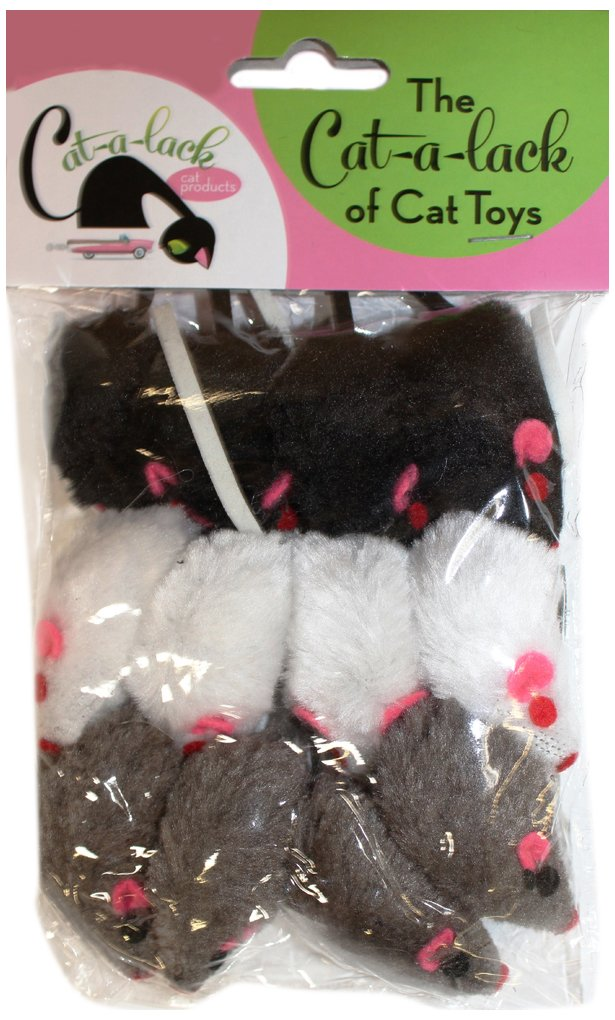Cat-A-Lack 12-Piece Mice Balls for Pets, 2-Inch