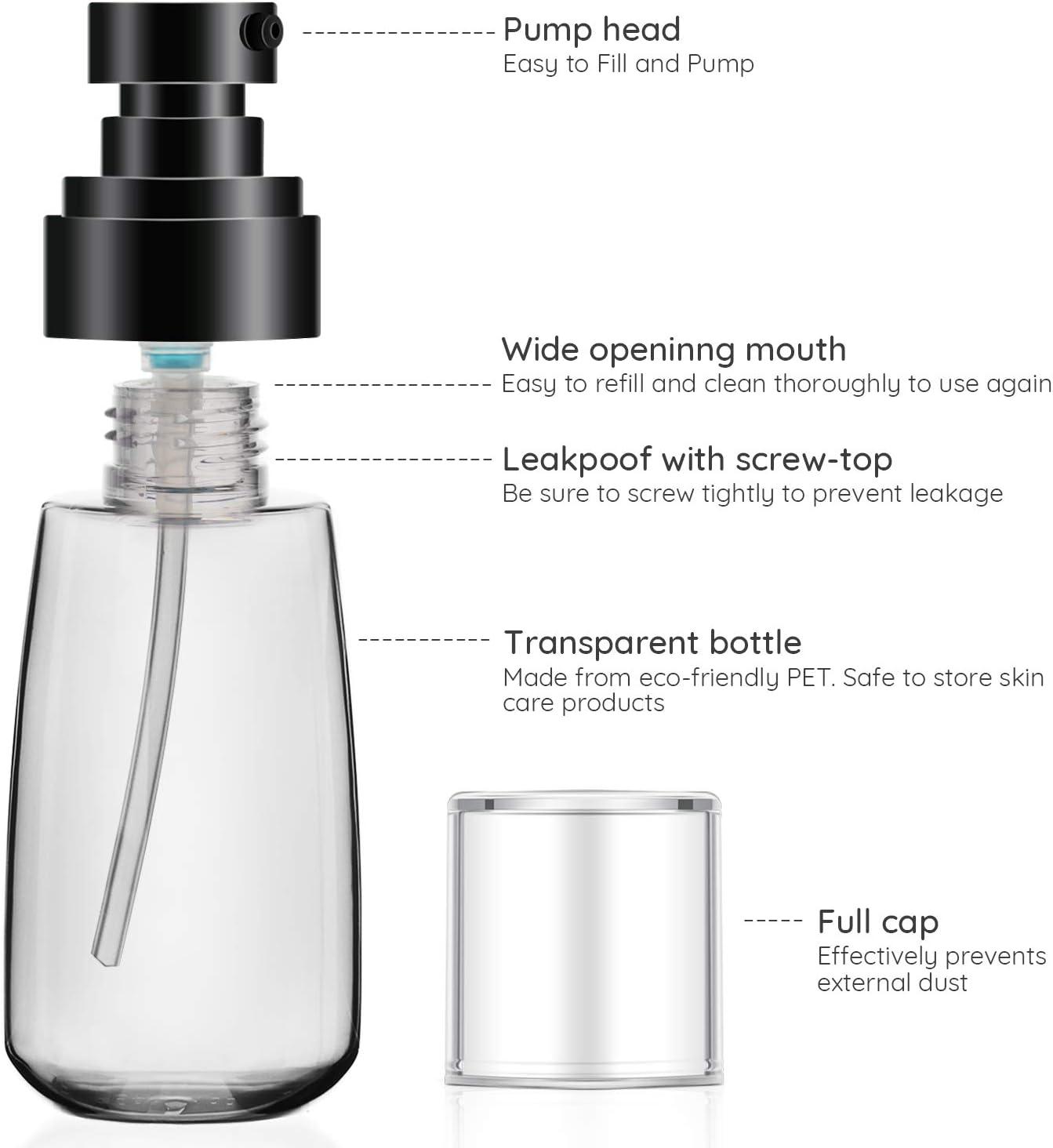 Segbeauty 60ml Dispensador transparente Juego de botellas Port/átil para Esencia Champ/ú Acondicionador Recipientes de bomba prensados recargables Botella de loci/ón de 3 piezas