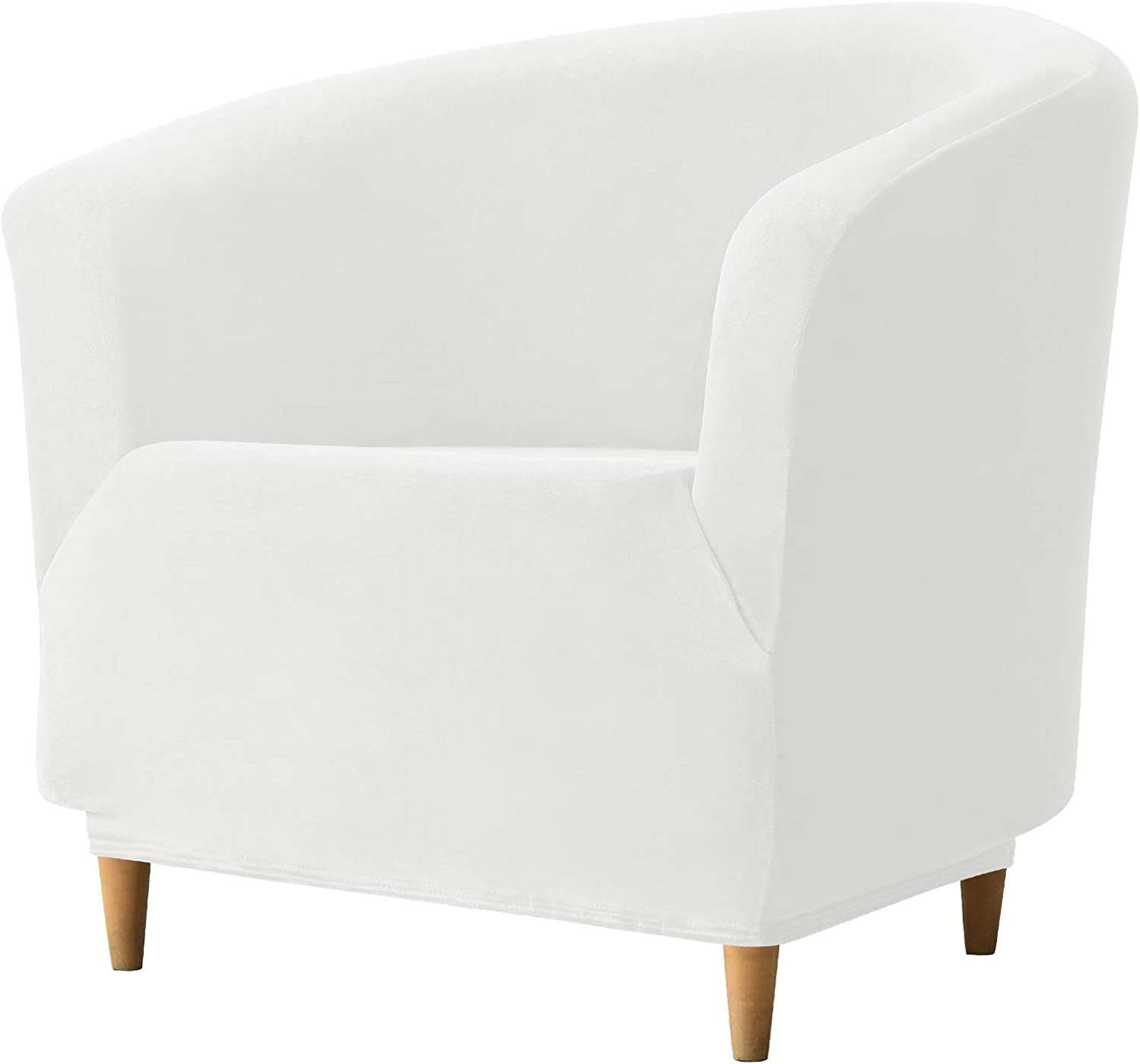 REECOTEX Velvet Club Chair Slipcover, Soft Stretch Tub Chair Cover for Living Room and Bedroom, Washable and Removable Armchair Protector, Furniture Protector for Home Decor,White