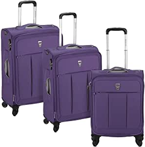 Roncato Italia | Polylight Collection | Luggage | Suitcases | Trolleys | Carry on | Travel bag | Set of 3 | Purple color | Large, Medium and Cabin size