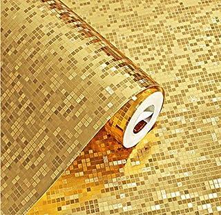 Svsnm 0.53x10m Carta da Parati Carta da Parati Cucina Bagno Sfondo Carta da Parati 3D backsplash stereoscopico Piastrella Mosaico Oro Plaid PVC Impermeabile Goffrato