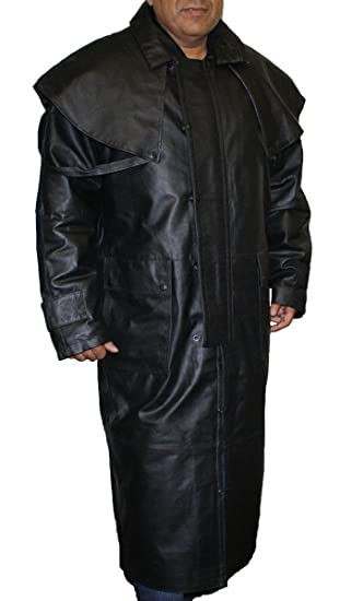 7fa02ef9b5d Amazon.com: Mens Black Genuine Leather Trench Coat Full Length Duster  Lined~ Snap Closure_L: Clothing