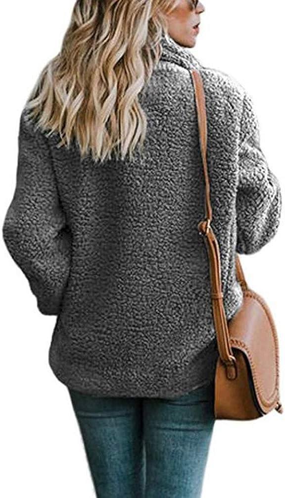 Cayuan Donna Cappotti Giacca en Pelliccia Sintetica Addensare Caldo Cappotto Soffice Soprabito Cardigan con Tasche Inverno