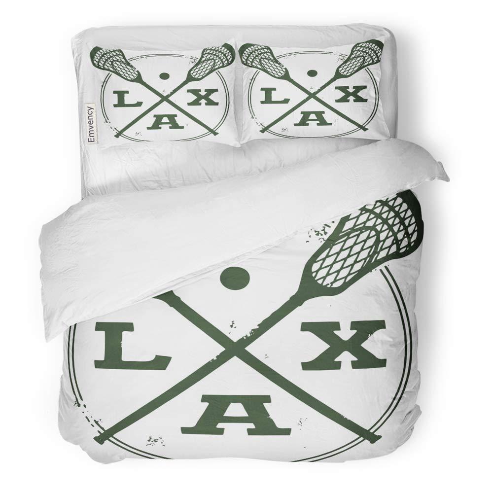 MIGAGA Decor Duvet Cover Set Full/Queen Size Stick Lacrosse Lax Vintage Style Stamp Crossed College Distressed Helmet Athletic 3 Piece Brushed Microfiber Fabric Print Bedding Set Cover