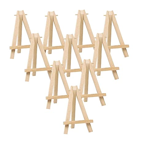Mayitr 10pcs Mini Wooden Artist Easel Triangle Cards Stand Display Wedding