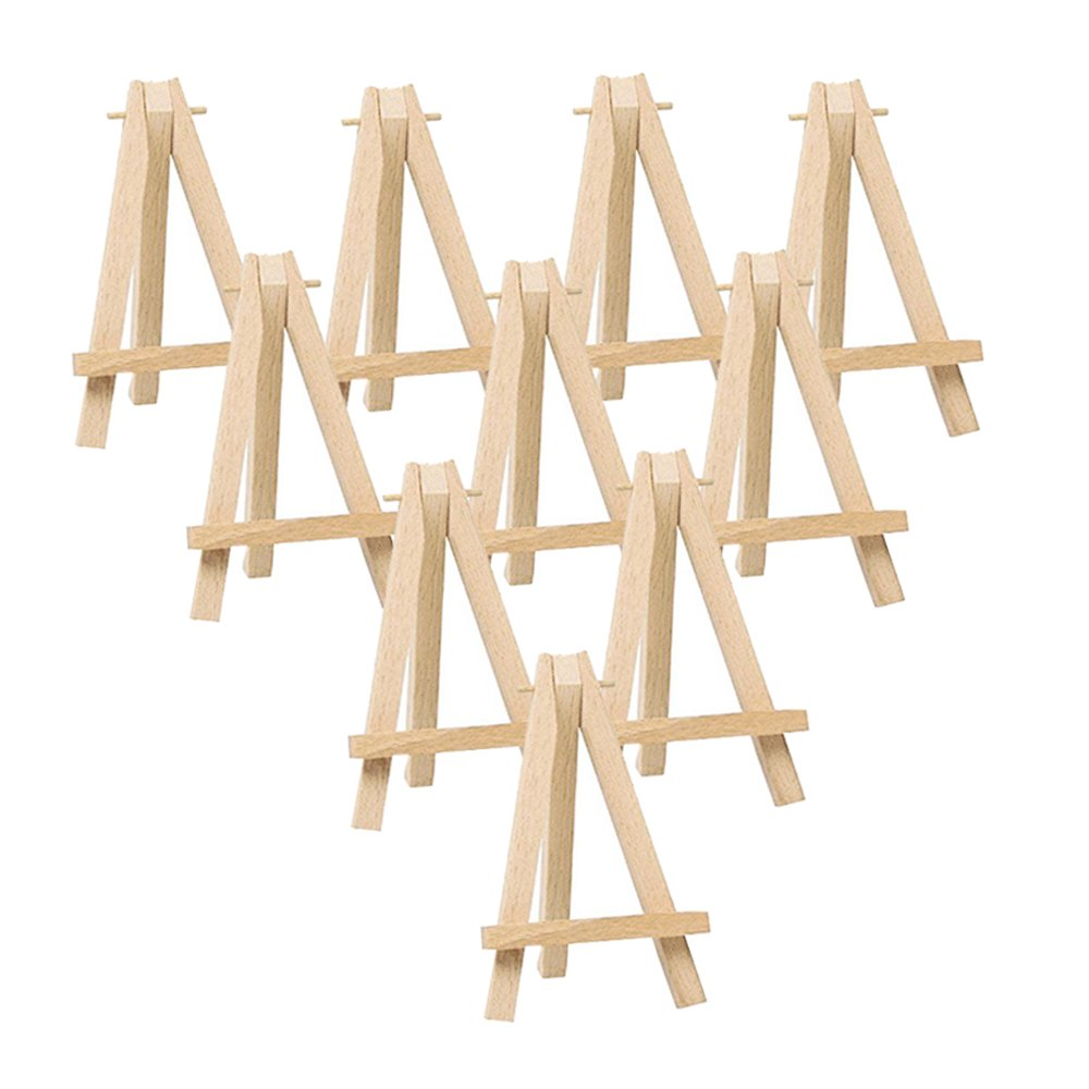 10pcs Mini Wooden Artist Easel Triangle Wedding Table Stand Display Holder    15 X 8 CM