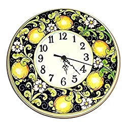 CERAMICHE D'ARTE PARRINI - Italian Ceramic Wall Round Clock Art Pottery Hand Painted Decorated Lemons Made in ITALY Tuscan Art Pottery