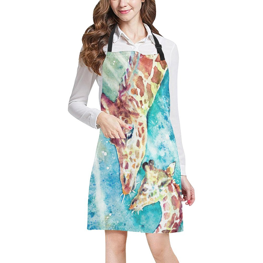 InterestPrint Watercolor Two Giraffes Animal Art Chef Kitchen Apron, Adjustable Strap & Waist Ties, Front Pockets, Perfect for Cooking, Baking, Barbequing, Large Size
