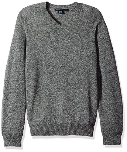 French Connection Men's Lambswool Elbow Patch Sweater, Charcoal Twist/Black, L