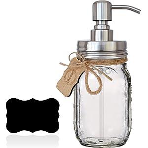 Premium Rustproof 304 18/8 Stainless Steel Mason Jar Soap Pump/Lotion Dispenser | Modern Farmhouse | Bonus Chalk Label | 16 oz (Regular Mouth) Glass Mason Jar (Silver)
