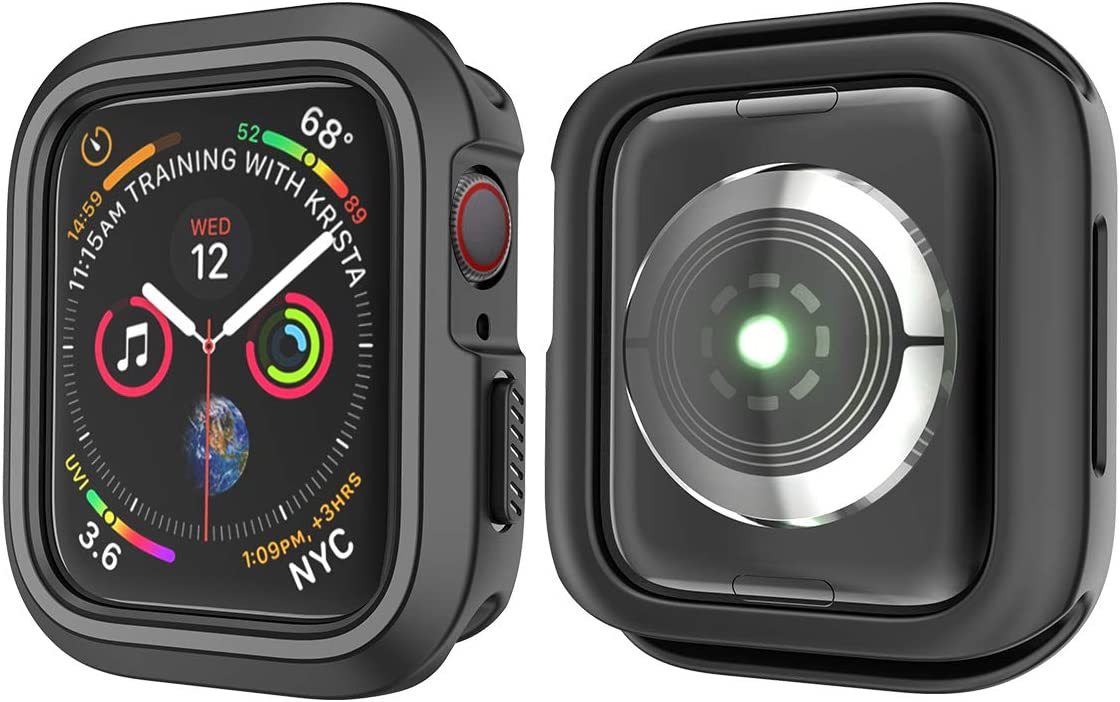 Compatible with Apple Watch Series 4 44mm Case, 2018 iWatch Sport Case TPU Overall Protection Armor Bumper Cover, Cool for Apple Watch Series 4 iWatch 4th 44 mm Case (Black-Gray)