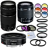 Canon EF-S 18-55mm f/3.5-5.6 IS STM Lens Bundle Includes Canon EF 75-300mm f/4-5.6 III Lens + Canon EF 40mm f/2.8 STM Lens + 3 Piece Filter Kit (UV-CPL-FLD)+ 4 Piece Macro Filter Set + Cloth & More!