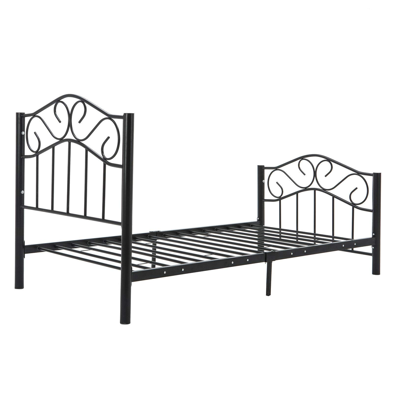 32e-SANERYI Bed Frame Twin Size, Stable Metal Frame with 6 Legs 2 Headboards,Under-Bed Storage,Enhanced Sturdy Slats(Black)