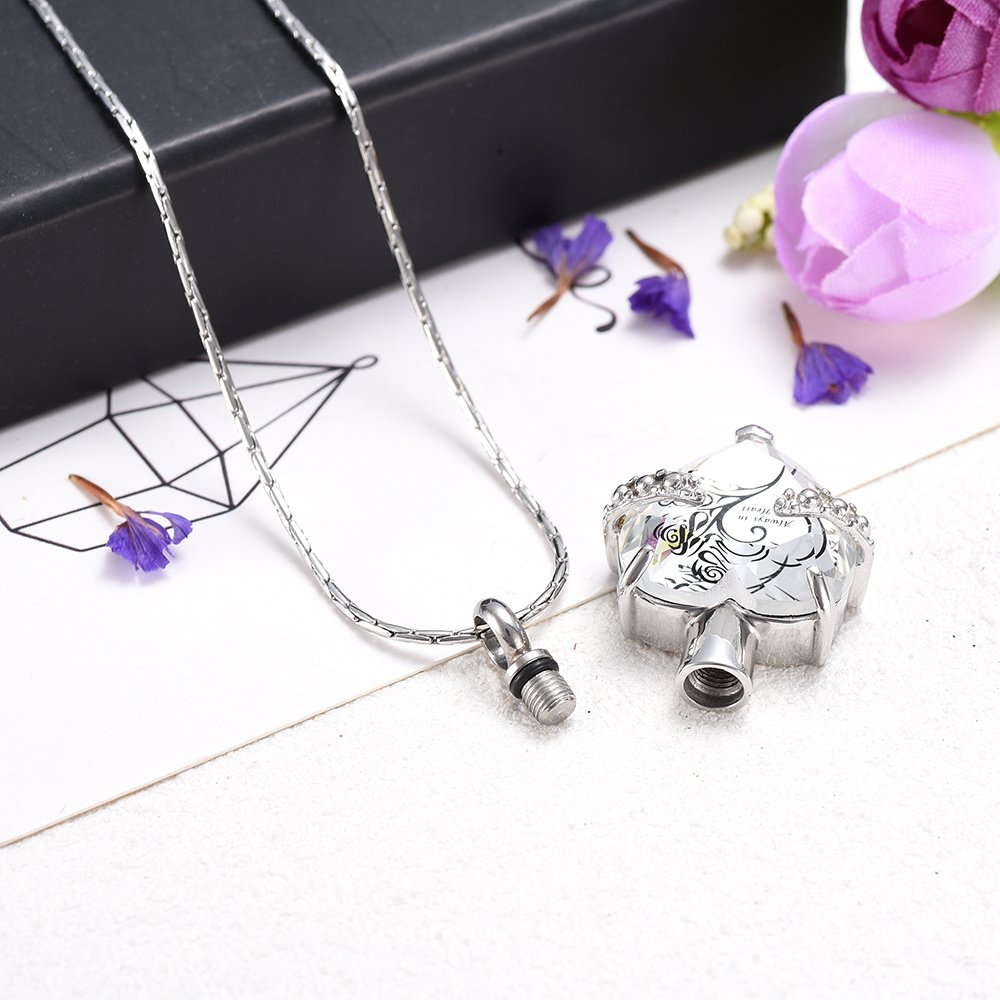 Always In My heart Crystal Necklace Stainless Steel Cremation Ashes Pendant Memorial Cremation Jewelry by constanlife (Image #4)