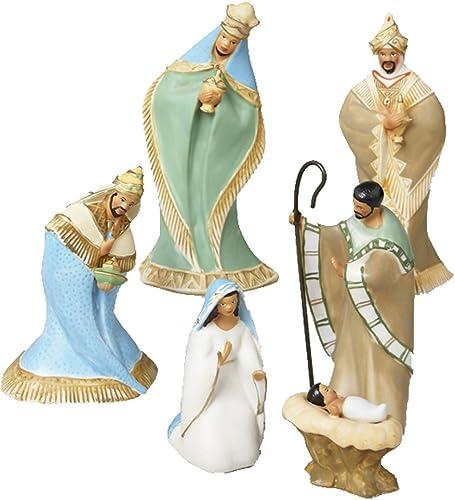 Kurt Adler African American Nativity Figurine, 1-7 8-Inch to 6.25-Inch, Set of 6