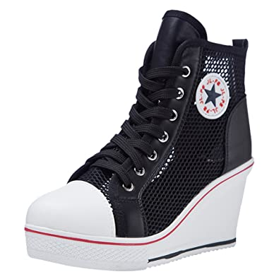 b4b3307e5cf6 Padgene Women s Canvas Wedge Trainers Ladies Lace up Side Zip High Top  Ankle Boots Sneaker Pump