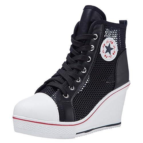 Kivors Zapatillas Deportivas de Mujer Respirables Zapatos Casuales Mujer Zapatillas Altas para Primavera/Verano Tacón Cuña 8CM: Amazon.es: Zapatos y ...