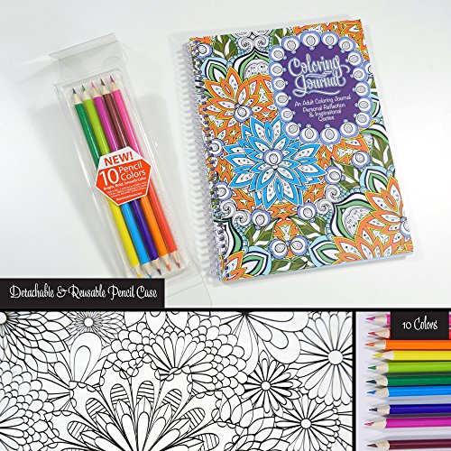 Adult coloring journal includes colored pencils an Coloring books for adults spiral bound