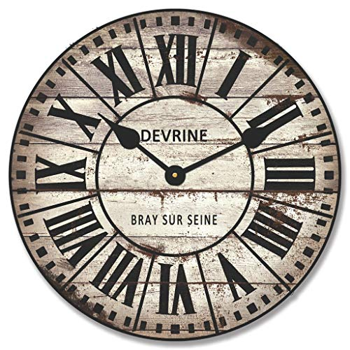 Sorbus Paris Oversized Wall Clock, Centurion Roman Numeral Hands, Parisian French Country Rustic Modern Farmhouse D cor, Analog Wood Metal Clock, 24 Round