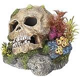 """Aquarium Dekoration Aqua Ornaments """"TOTENKOPF"""" mit Pflanzen; L13,5 x B13,5 x H10,5 cm"""