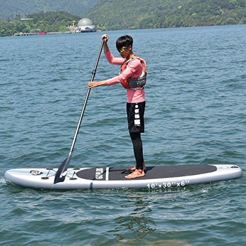 MD Group SUP Board Stand Up Paddle 10-Feet Inflatable EVA & Aluminum Paddle w/ 3 Fins by MD Group