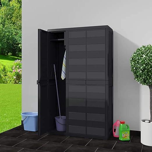 con 2 ripiani e 3 ante Armadio in plastica per esterni grigio colore: nero 97 x 38 x 87 cm Cikonielf