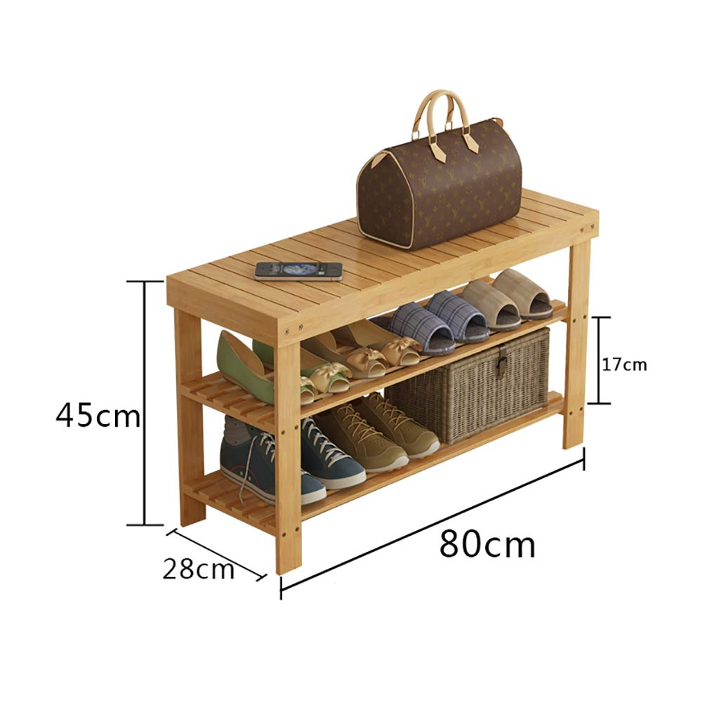 A 802845CM Entrance shoes Rack shoesbox Change shoes Bench Shelf Storage Shelf Multifunction 2 Layer Household Dorm Room Space Saving Doorway Bamboo (color   B, Size   80  28  45CM)