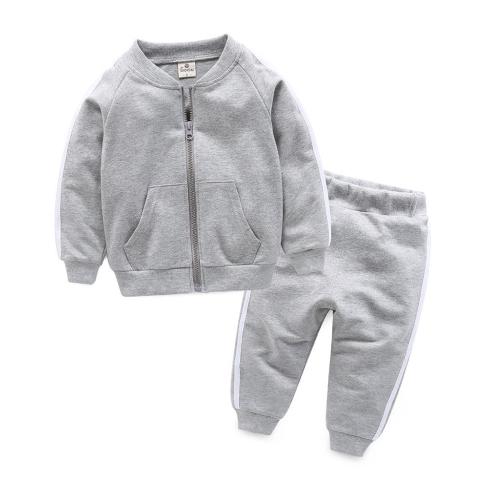 UWESPRING Baby Boy Cotton Tracksuit Outfits Boys Jogging Sets Stripe Coat+Sports Trousers 4T Grey