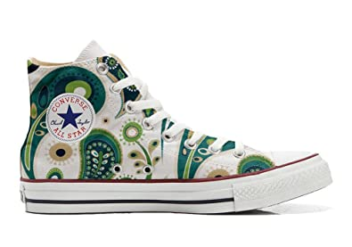 Converse All STar CUSTOMIZED  Sneaker Unisex printed Italian style White Green Paisley 1