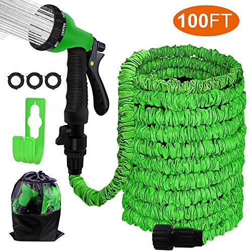 Agichose 100FT Garden Hose Reel Wall Mount Expandable 3 Times TPE Super-Strength High Pressure Flexible Water Hose with 3/4″ Solid Fittings Comes with Free Hose Hook.