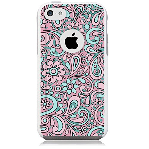 Paisley Protector Case - Unnito iPhone 5C Case - Hybrid Commuter Case | Slim Cover with Hard Shell Design and Soft Inner Layer Compatible with iPhone 5C White Case - Pastel Paisley