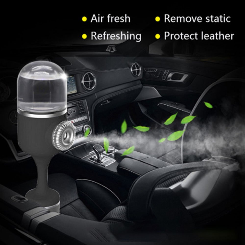 Carejoy Car Air Refresher Essential Oil Diffuser, Cool Mist Air Purifier 360° Rotation Neck Mini Car Humidifier Aromatherapy Diffusers with Dual USB Charger for Vehicle Travel