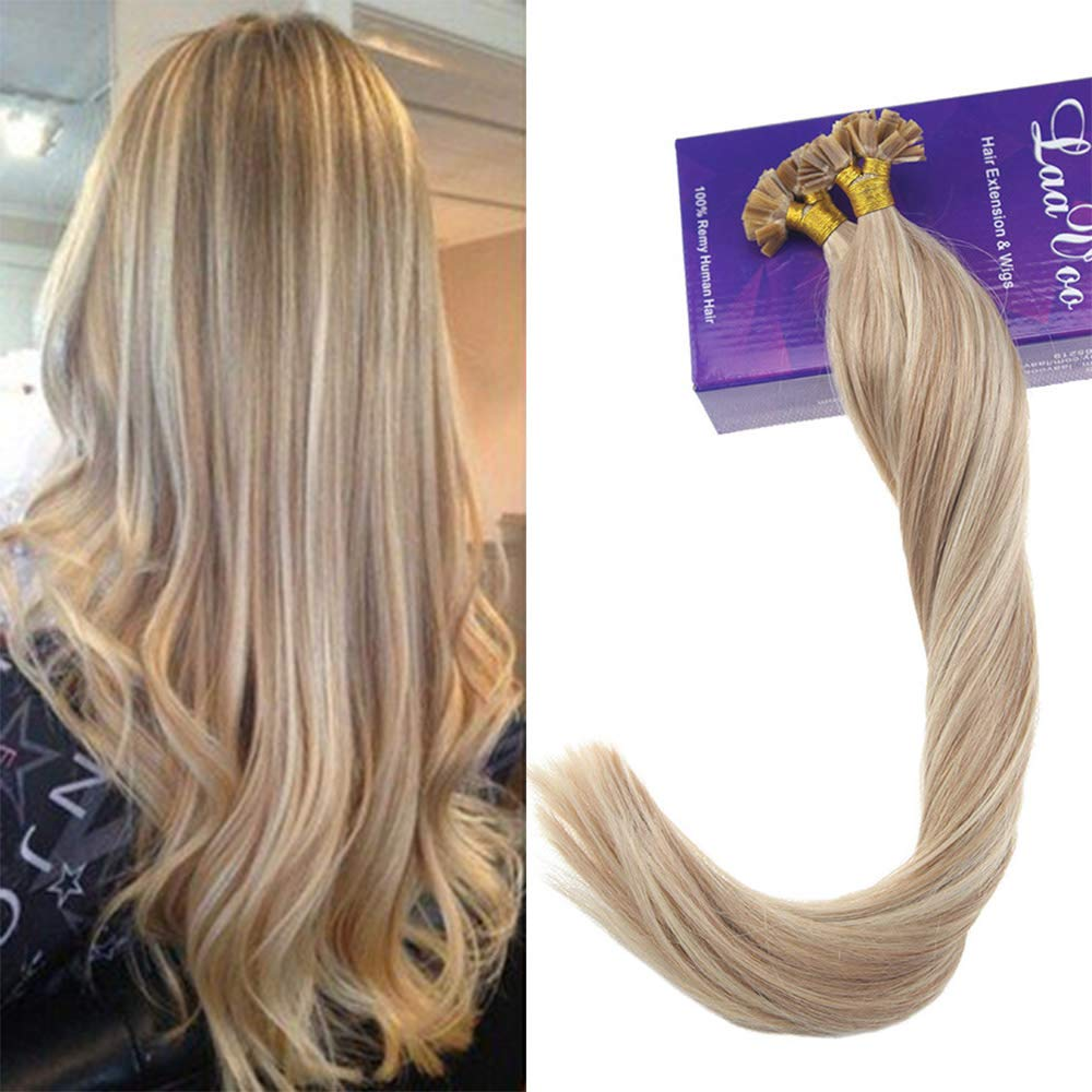 Amazon Laavoo 20 Real Hair Extensions Flat Tip For Blonde