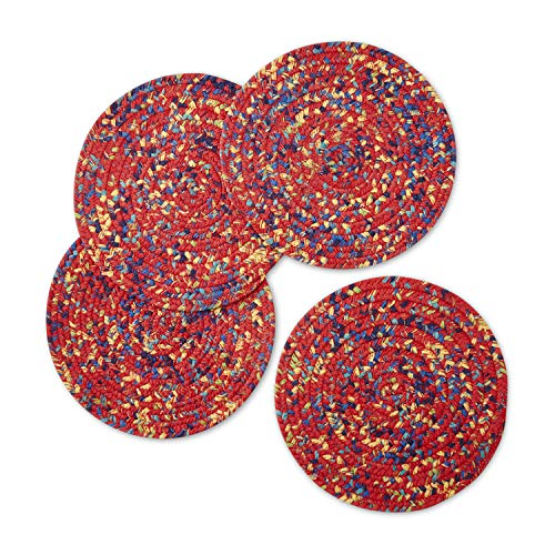 The Pioneer Woman Floral Braided Placemat (Round), Pack of 4 (Red - Fiona Floral) -