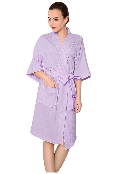 ee851a49da Mujer Albornoz de Algodón Waffle Weave Ropa de Dormir Bata Kimono Ligero  Camisón para SPA Hotel