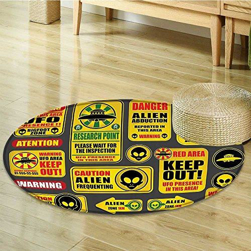Outer Space Decor Circle carpet by Nalahomeqq Warning Ufo Signs with Alien Faces Heads Galactic Paranormal Activity Design Fabric Room Decor non-slip Yellow-Diameter 120cm(47'') by Nalahomeqq
