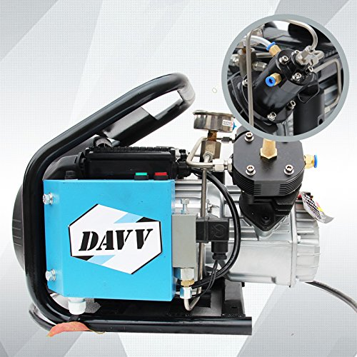 DAVV SCU60 High Pressure Air Compressor for Paintball PCP Airgun Rifle Scuba Tank Filling, Dual Piston Pump, Auto Stop, 110v, Up to 4500 psi, US After-Sales Service by DAVV