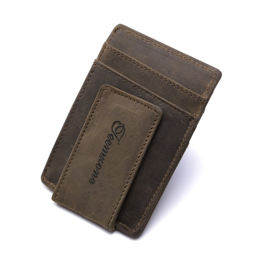 Teemzone® Mens Wild Crazy Horse Leather Money Magnetic Clip ID Case Card Holder Pocket (Coffee)