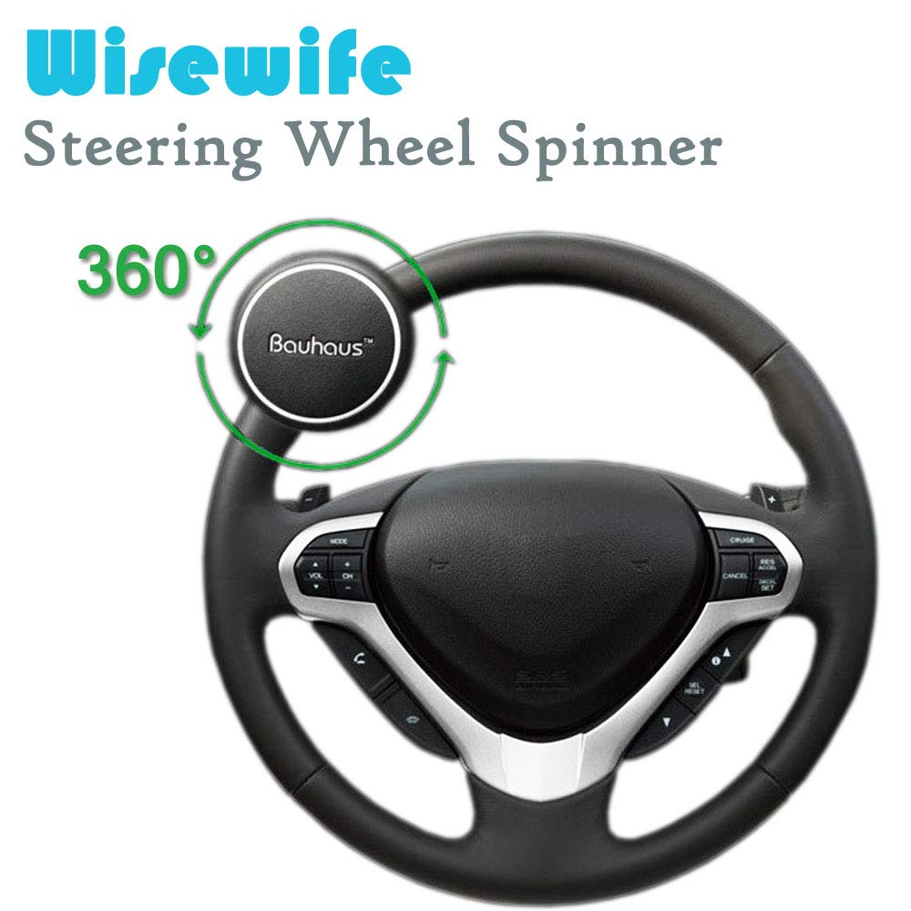 Wisewife Steering Wheel Spinner Knob - Vehicle Wheel Spinner with Silicone Power Handle - Universal Fit for Car Truck SUV Tractor Trailer Big Rig Boat & More Youmijia
