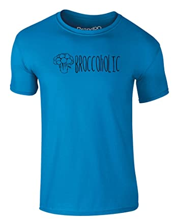 Broccoholic, Erwachsene Gedrucktes T-Shirt - Azurblau/Schwarz S = 89-94