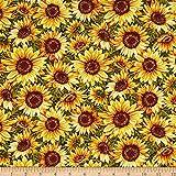 """Fabri-Quilt""""""""Bountiful Harvest Sunflowers Metallic, Yellow"""