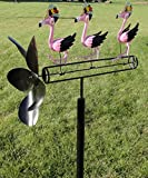 CHSGJY Pink Flamingo Whirligig Dance Party Wind Spinner Yard Stake Yard Garden Outdoor Living Decor
