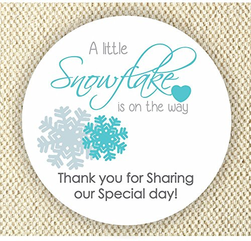 Baby Boy Shower Stickers - A Little Snowflake is on the way Stickers - Thank you for Celebrating with me Labels]()