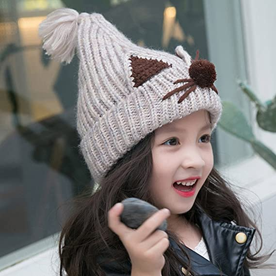 843257b88c8 Woopower Beige Baby Autumn Winter Knitted Hat 6M-1Y Infants Cat' S Ears  Pattern Knitted Hat Pointed Wool Knot Cap  Amazon.in  Clothing   Accessories