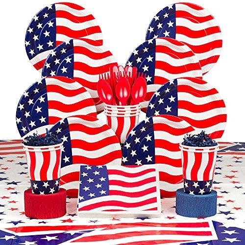 Costume SuperCenter American Flag Party Deluxe Tableware Kit Serves 8 -