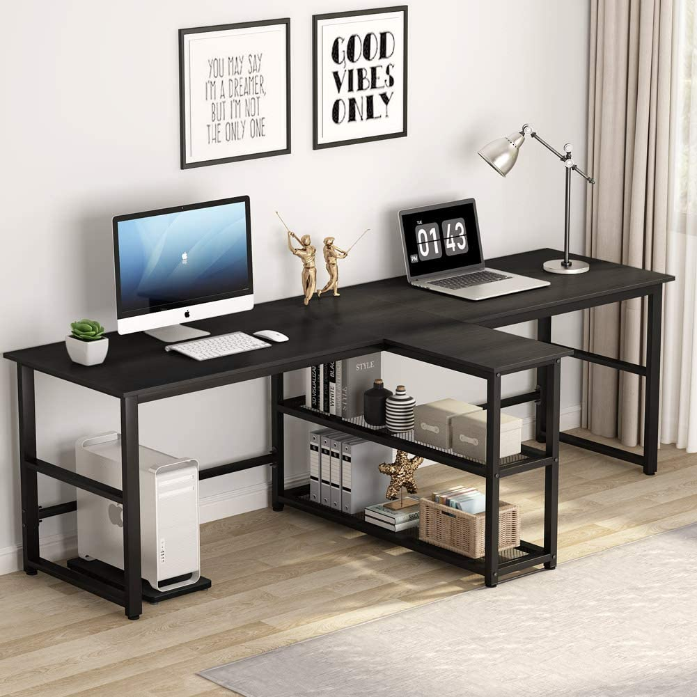 Amazon Com Tribesigns 94 5 Inch Computer Desk Extra Long Two Person Desk With Storage Shelves Double Workstation Office Desk Study Writing Desk For Home Office Black Office Products