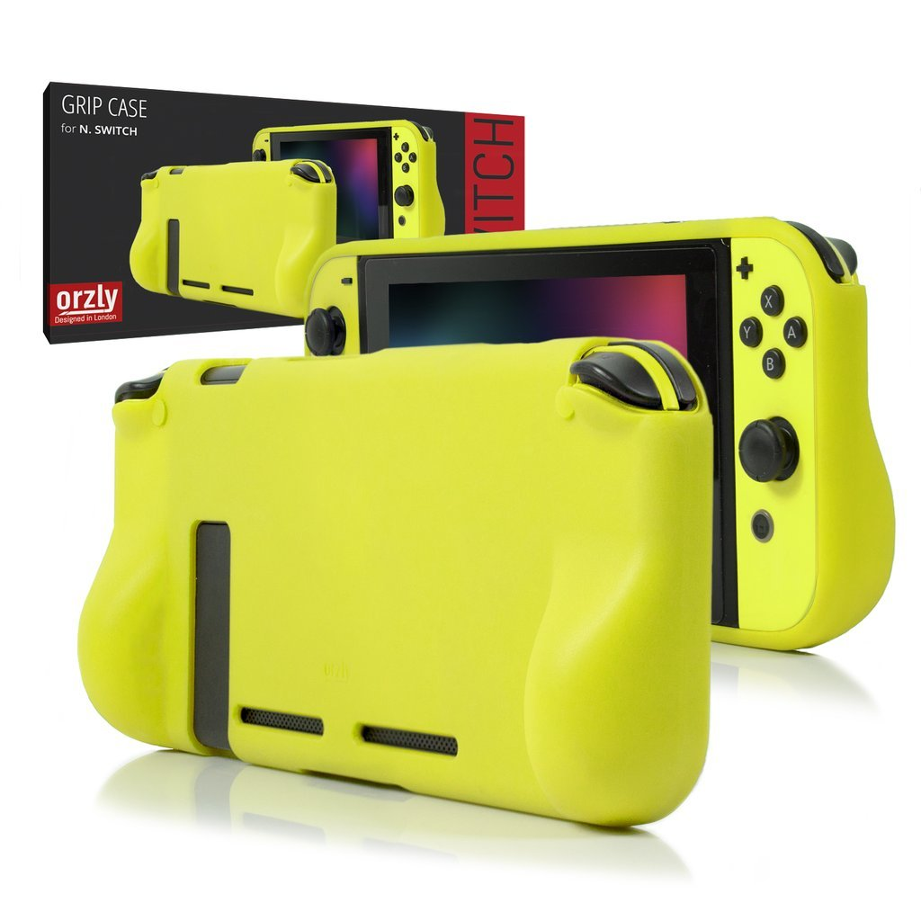 ORZLY® Comfort Grip Case for Nintendo Switch - Protective Back Cover for use on the Nintendo Switch Console in Handheld GamePad Mode with built in Comfort Padded Hand Grips - NEON YELLOW product image