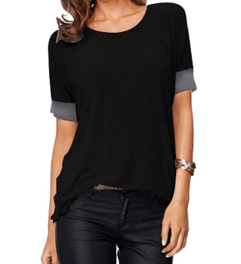 Roshop Women's Casual Round Neck Loose Fit Short Sleeve T-Shirt Blouse Tops (Black, M)