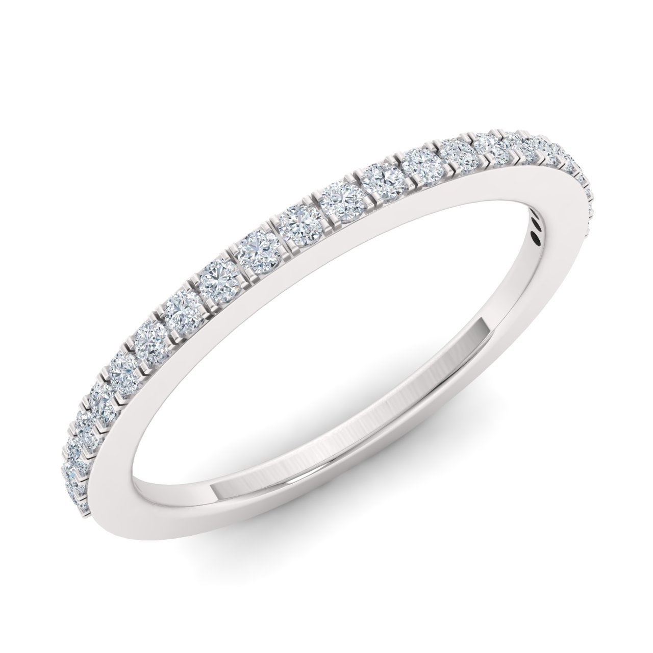 Diamondere Natural and Certified Diamond Wedding Ring in 14K White Gold   0.09 Carat Half Eternity Stackable Band for Women, US Size 6 by Diamondere